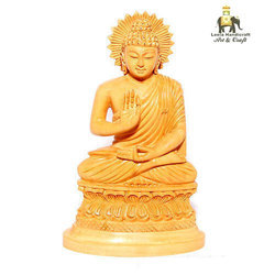 Hand Carved Wooden Blessing Buddha Statue
