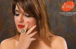 Kundan Meena Finger Ring