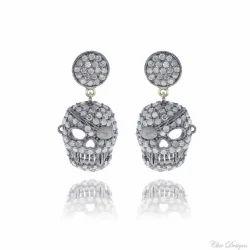 Diamond Skull Charm Earrings