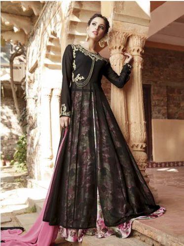 685f2ce2b Wedding Wear Salwar Kameez - Black Faux Georgette Lehenga Type Semi ...