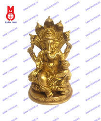 Lord Ganesh Sitting On Cobra Rd.Base Statue