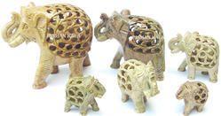 Soapstone Undercut Elephants