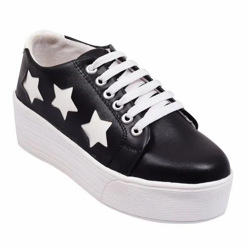Synthetic Black Sneaker For Women, Size