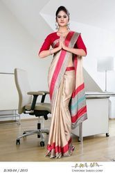 Red and Golden Hotel Uniform Plain Saree