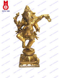 Ganesh Dancing On Sq. Base Trunk In Hand Statue