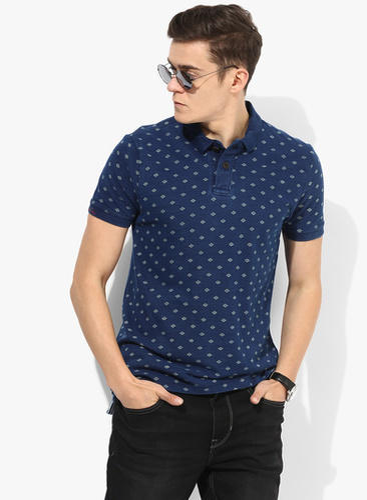 cfbdc89b Navy Blue Printed Regular Fit Polo T Shirt & Off White Solid Regular ...