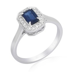 Blue Sapphire Gemstone Gold Solitaire Ring