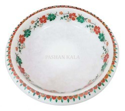 White Marble Inlay Fruit Bowl