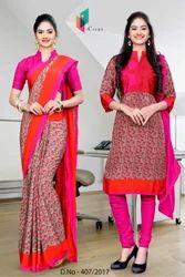 Red and Pink Italian Crepe Uniform Saree Kurti Combo