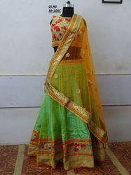 Green Banglori Silk Embroidered Lehenga Choli