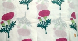 Flower Hand Block Printed Cotton Sanganeri Print Fabric
