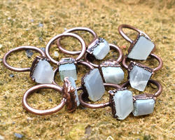 Rough Moonstone Rings