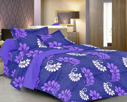 Always Plus Floral Blue, Pink, Brown Double Bedsheet
