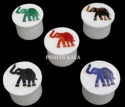 Round Marble Inlay Pill Box
