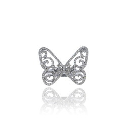 Silver Butterfly Diamond Ring