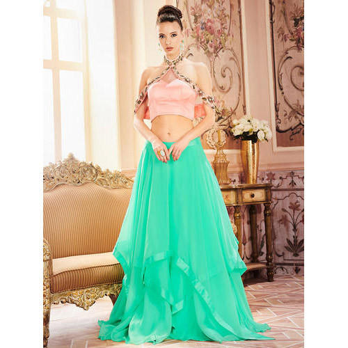 956ca44d9f Ladies Lehenga - Khwaab Peach Halter Neck Crop Top &Cyan Skirt ...