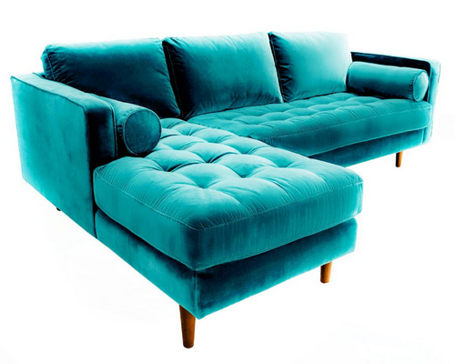 Teal Color Sectional Sofa