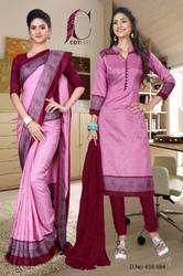 Uniform Saree Chudidar Set