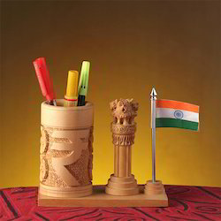 Indian Emblems Pen Stands Carved in Pure White Wood