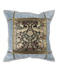 Gray Elephant Patchwork Crushed Poly Silk Cushion Covers