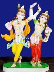 Dancing Marble Radha Krishna Statue