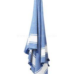 Blue White Striped Turkish Towel