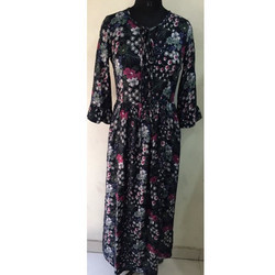 Ladies Black Printed Gown