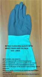 Nitrile Flock Lined Gloves With Sandy Finish Grip On Palm