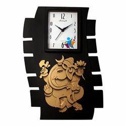 Golden Look Ganesha on Black Wall Clock Decorative Gift Item