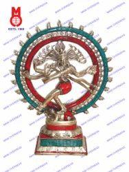 Natraj Dancing Double Ring W/ Stone Work Statue