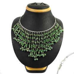Personable 925 Sterling Aventurine Beaded Necklace