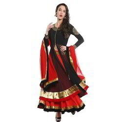 3pcs Set Lehenga Top and Dupatta with Gold Print and Lace