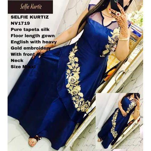 Designer Gowns - Selfie Silk Gown With Gold Work Wholesaler from Delhi
