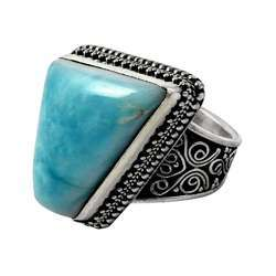 Graceful 925 Sterling Silver Larimar Ring
