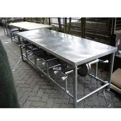Canteen Dining Table with Folding Stool