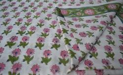 Hand Block Cotton Floral Printed Fabric Indian Printed