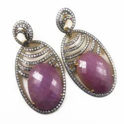 Pink Sapphire Diamond Earring