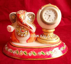 Marble Painted Clock With Ganesha