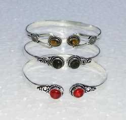 Silver Bangle With Stone Work