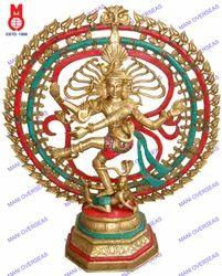 Natraj Triple Ring & Om Hexagonal Base W/ Stone Work Statue