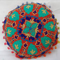 Red Embroidered Sofa Cushion