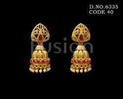 Traditional Antique Pearl Ruby Indian Wedding Earrings