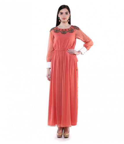 9c4f780a956 Women Gowns - Peach Georgette Hand Embroidered Gown Manufacturer ...