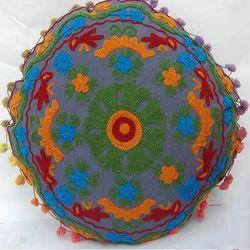 Dark Grey Round Embroidered Cushion