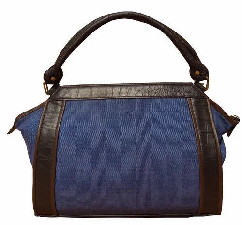 eea9408fbefe Ladies Leather Bags - Spice Art Blue Jute Canvas Handbag ...