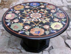 Black Marble Inlaid Table