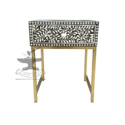 Black & White Rustic Green Bone Inlay Bed Side Table, Size/Dimension:  45x40x60 Inch