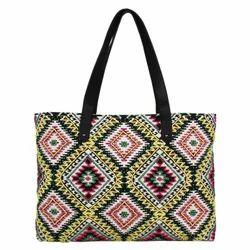 Jacquard Embellished Tote Bag