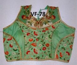 Green Embroidered Banglori Silk Stitched Blouse