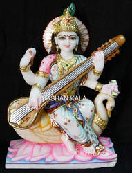 Marble Saraswati Goddess Statue